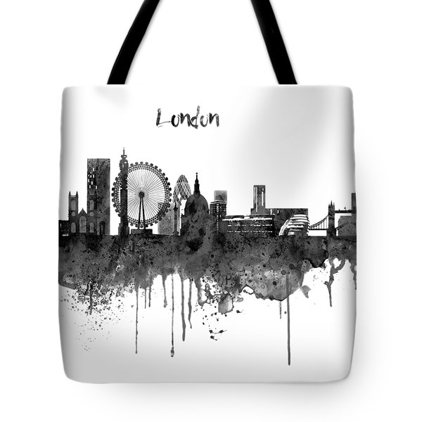 London Black And White Skyline Watercolor Tote Bag