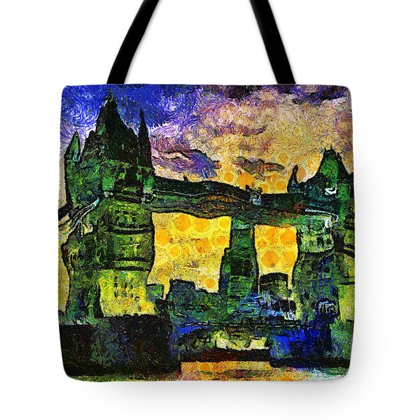 Tote Bag featuring the digital art London Bridge by Ian Mitchell