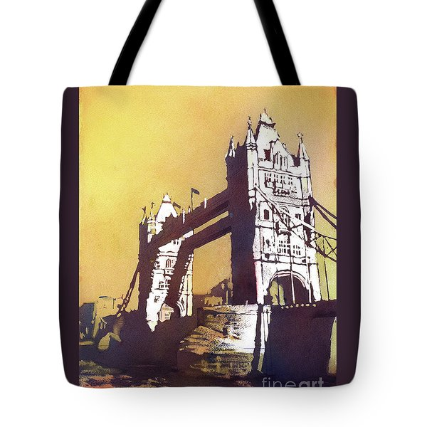 Tote Bag featuring the painting London Bridge- Uk by Ryan Fox