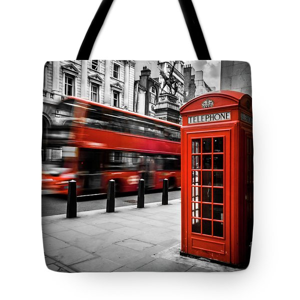 London Bus And Telephone Box In Red Tote Bag