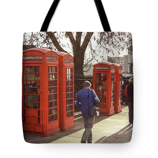 Tote Bag featuring the photograph London Call Boxes by Jim Mathis