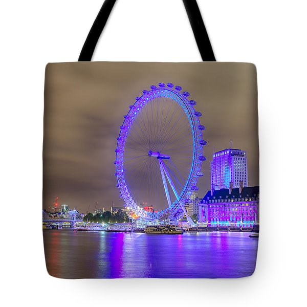 London Cityscape At Night 5x7 Tote Bag