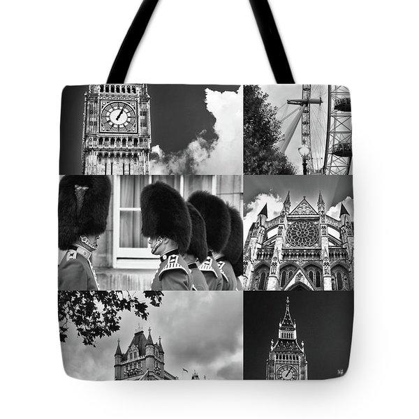 London Collage Bw Tote Bag