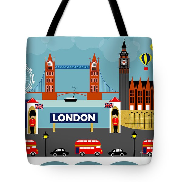 London England Horizontal Scene - Collage Tote Bag by Karen Young