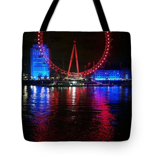 London Eye At Night Tote Bag by Hanza Turgul