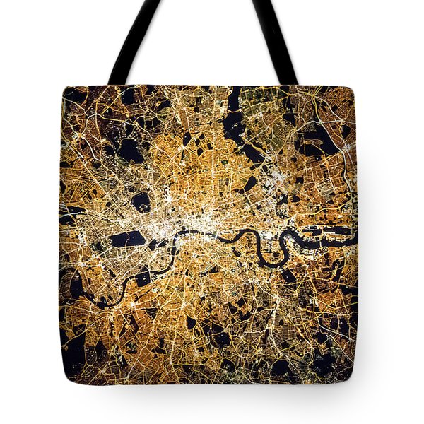 Tote Bag featuring the photograph London From Space by Delphimages Photo Creations