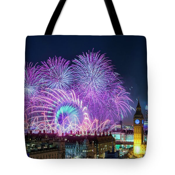 London New Year Fireworks Display Tote Bag