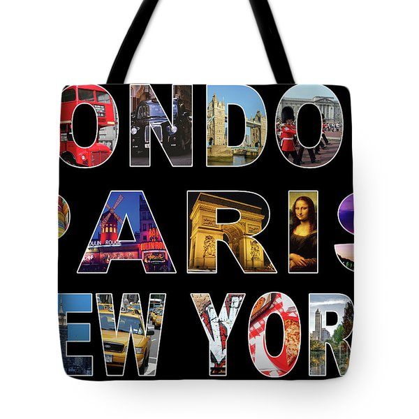 Tote Bag featuring the digital art London Paris New York, Black Background by Adam Spencer