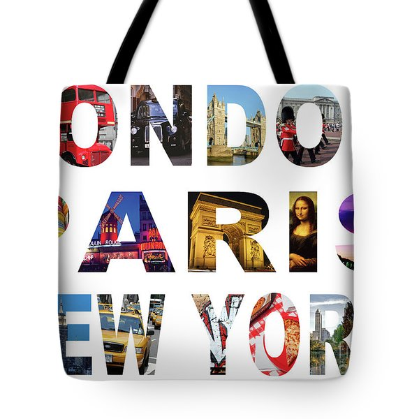 Tote Bag featuring the digital art London Paris New York, White Background by Adam Spencer