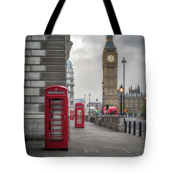 London Phone Booths And Big Ben Tote Bag