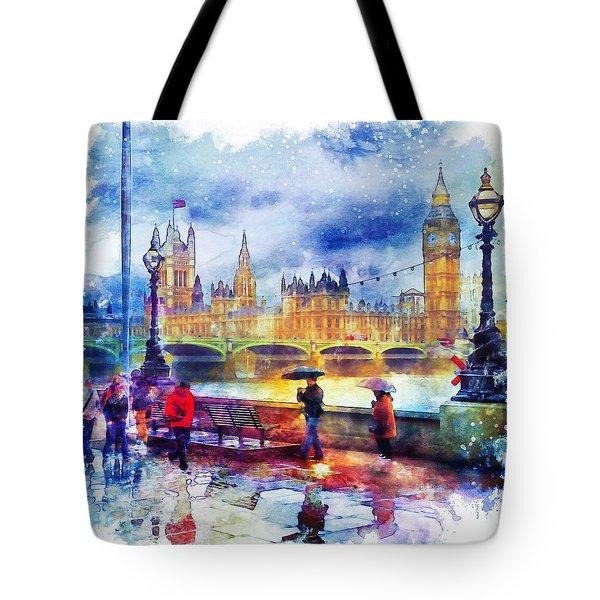 London Rain Watercolor Tote Bag