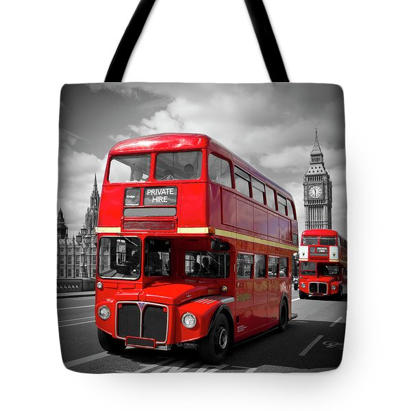 London Red Buses On Westminster Bridge Tote Bag