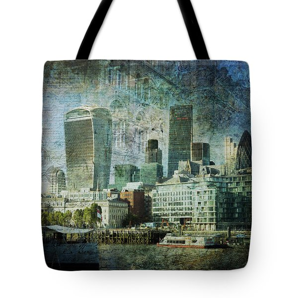 London Skyline Key Of Blue Tote Bag