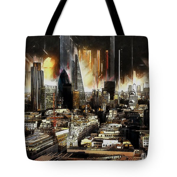 Tote Bag featuring the painting London Skyline by Kai Saarto