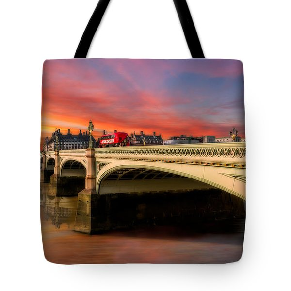 Tote Bag featuring the photograph London Sunset by Adrian Evans
