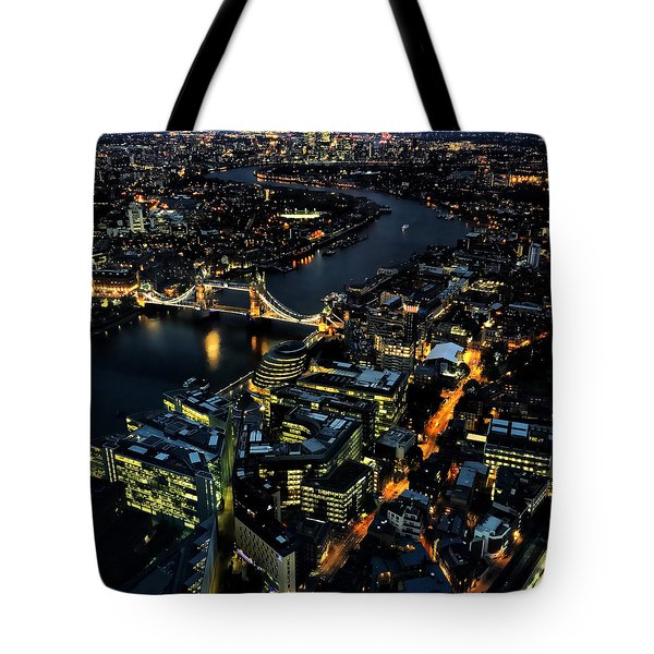 Tote Bag featuring the photograph London Tower Bridge At Night by Chris Feichtner