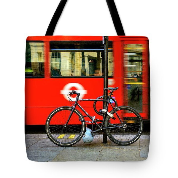 Tote Bag featuring the photograph _london Walking Tours Bicycle by Craig J Satterlee