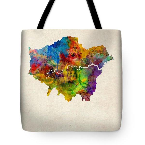 London Watercolor Map Tote Bag