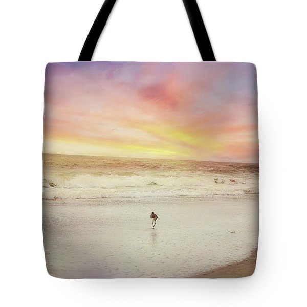 Lone Bird At Sunset Tote Bag