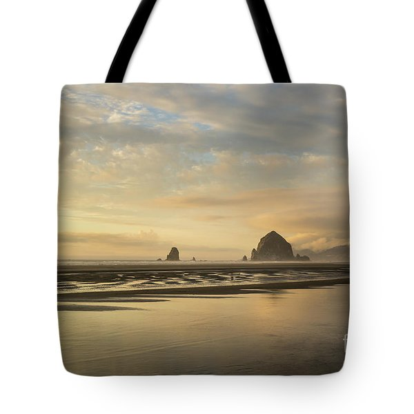 Sunset At Haystack Rock Tote Bag