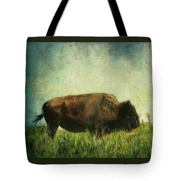 Tote Bag featuring the photograph Lone Bison On The Prairie by Ann Powell