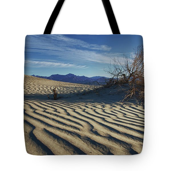 Lone Bush Death Valley Hdr Tote Bag by James Hammond