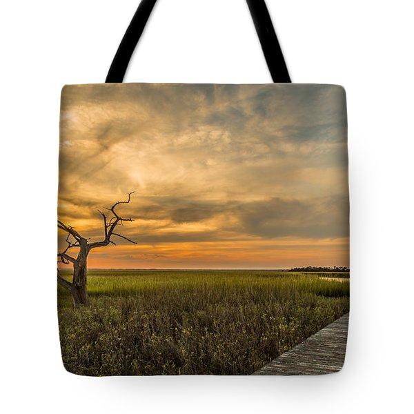 Lone Cedar Dock Sunset - Dewees Island Tote Bag