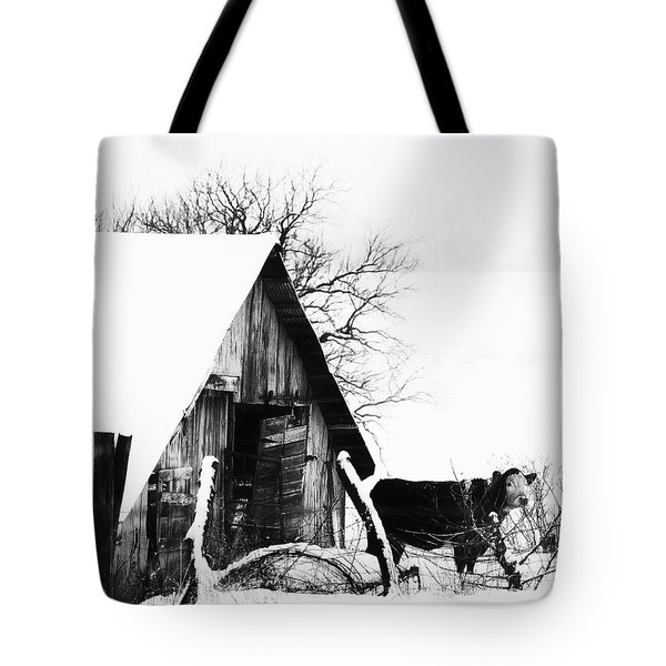 Lone Cow In Snowstorm Tote Bag
