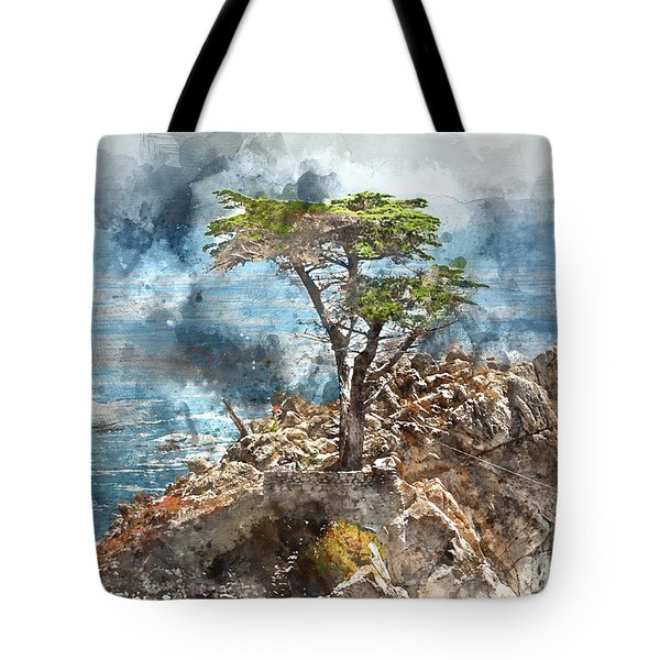 Lone Cypress In Monterey California Tote Bag