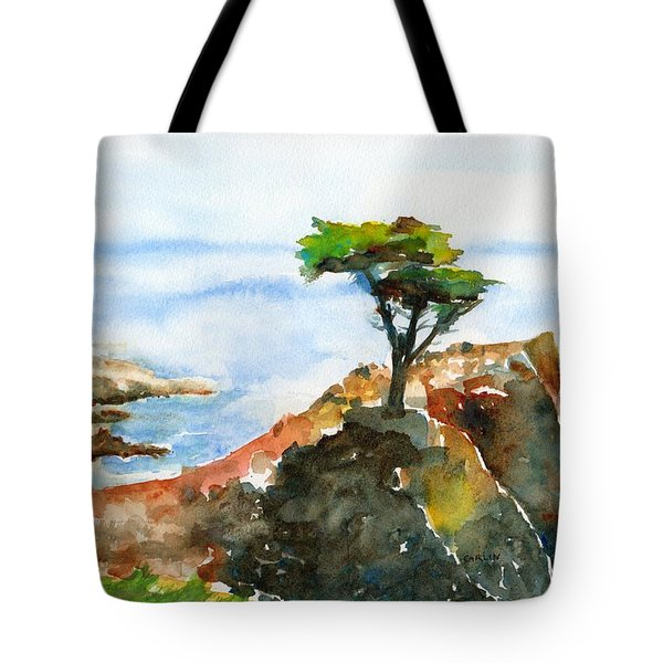 Lone Cypress Pebble Beach Fog Tote Bag