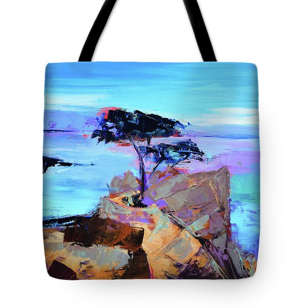Tote Bag featuring the painting Lone Cypress by Elise Palmigiani