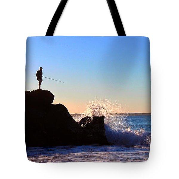 Lone Fisherman - Noosa Heads Tote Bag by Susan Vineyard