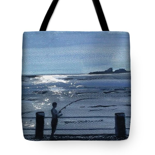 Lone Fisherman On Worthing Pier Tote Bag by Carole Robins