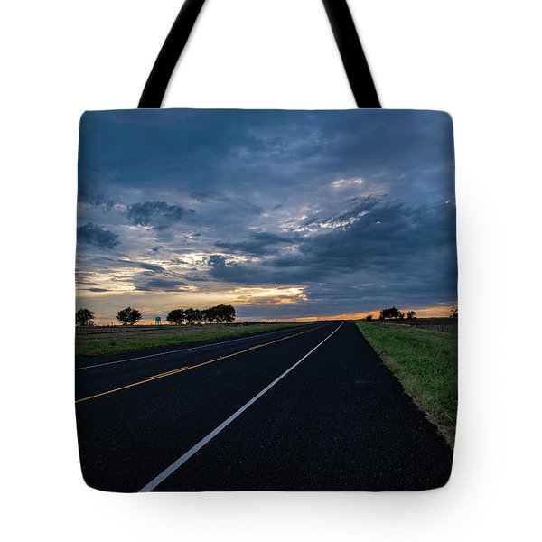 Lone Highway At Sunset Tote Bag