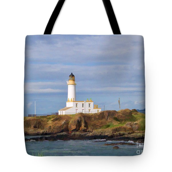 Tote Bag featuring the photograph Lone Lighthouse In Scotland by Roberta Byram