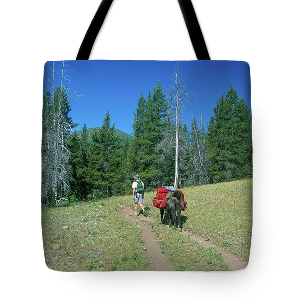 Lone Llama Packer In The Beautiful Bob Marshall Wilderness Tote Bag by Jerry Voss