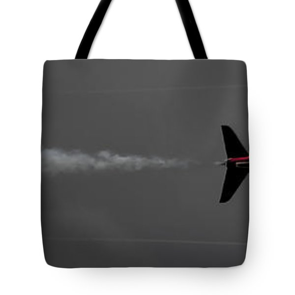 Tote Bag featuring the photograph Lone Red Arrow Smoke Trail - Teesside Airshow 2016 by Scott Lyons