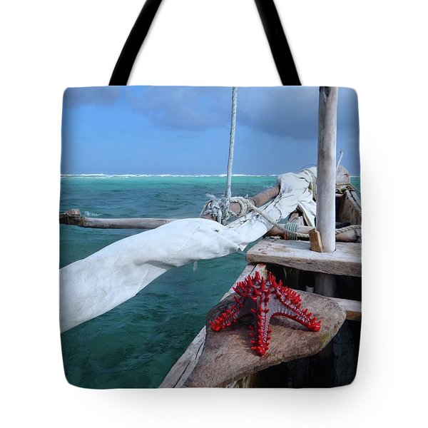 Lone Red Starfish On A Wooden Dhow 1 Tote Bag
