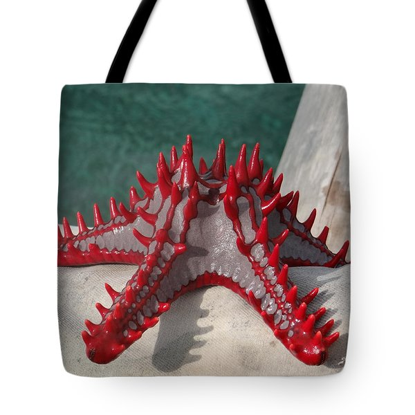 Lone Red Starfish On A Wooden Dhow 3 Tote Bag