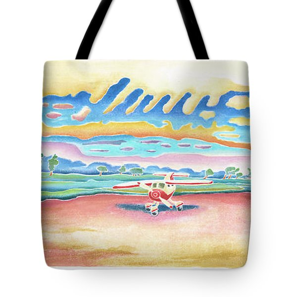 Lone Rock Airport Tote Bag by Linda Kelen