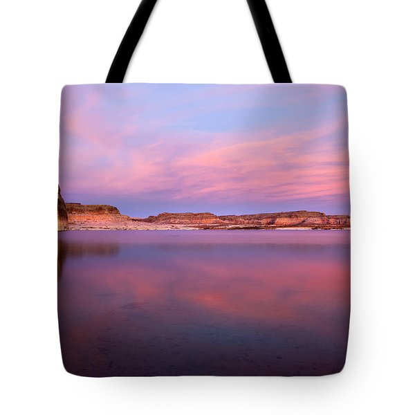 Lone Rock Sunset Tote Bag by Mike  Dawson