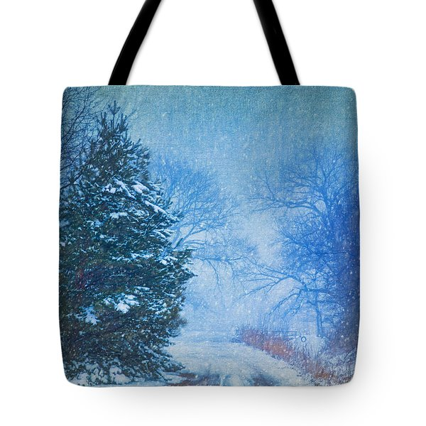 Lone Snowy Lane Tote Bag
