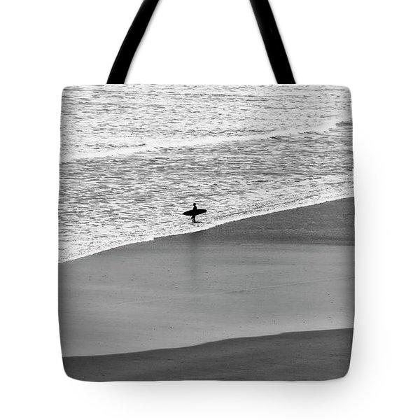 Lone Surfer Tote Bag by Nicholas Burningham
