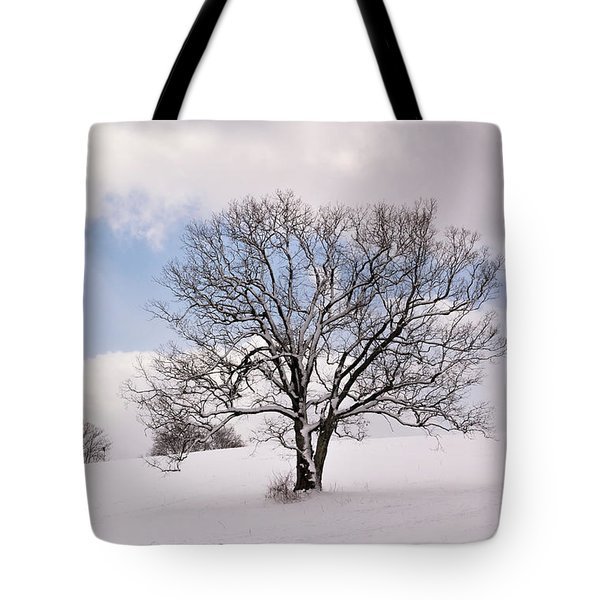Lone Tree In Snow Tote Bag