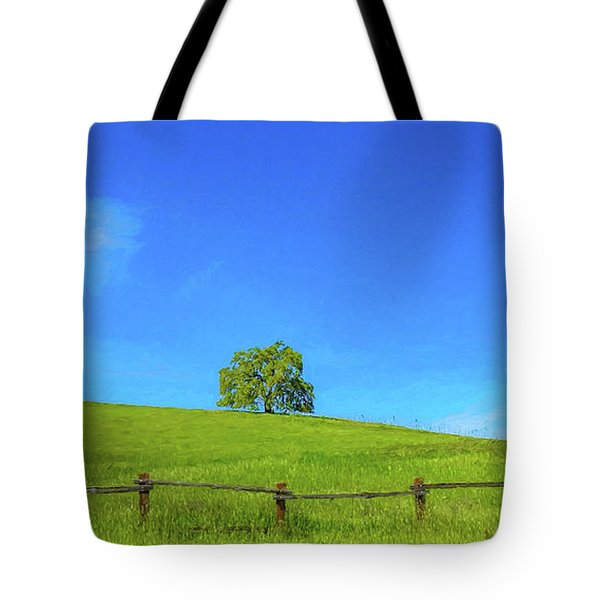Lone Tree On A Hill Digital Art Tote Bag