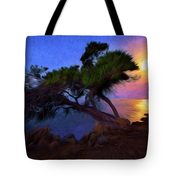 Tote Bag featuring the photograph Lone Tree On Pacific Coast Highway At Moonset by John A Rodriguez