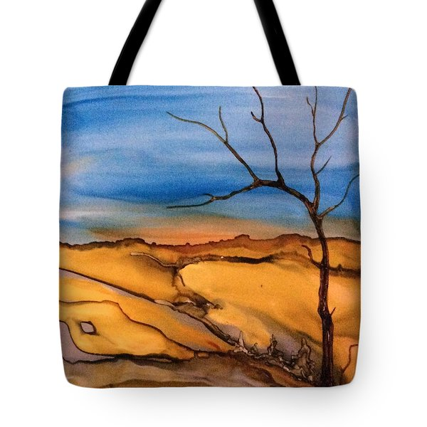 Tote Bag featuring the painting Lone Tree by Pat Purdy