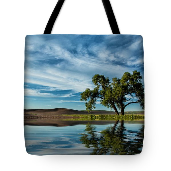Lone Tree Pond Reflection Tote Bag