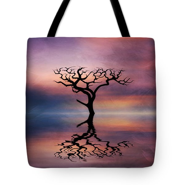 Tote Bag featuring the digital art Lone Tree Sunrise by Ian Mitchell