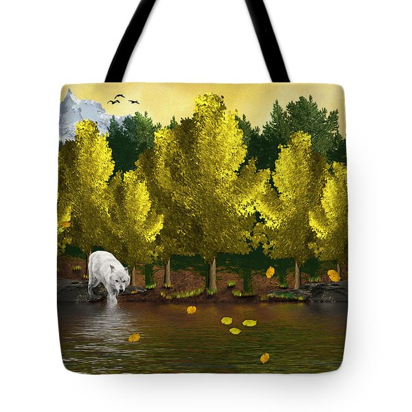 Lone Wolf At The River Tote Bag